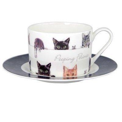Peeping Felines Teacup & Saucer