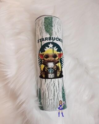 Baby Yoda Starbucks 30oz Tumbler White crackle /Green glitter