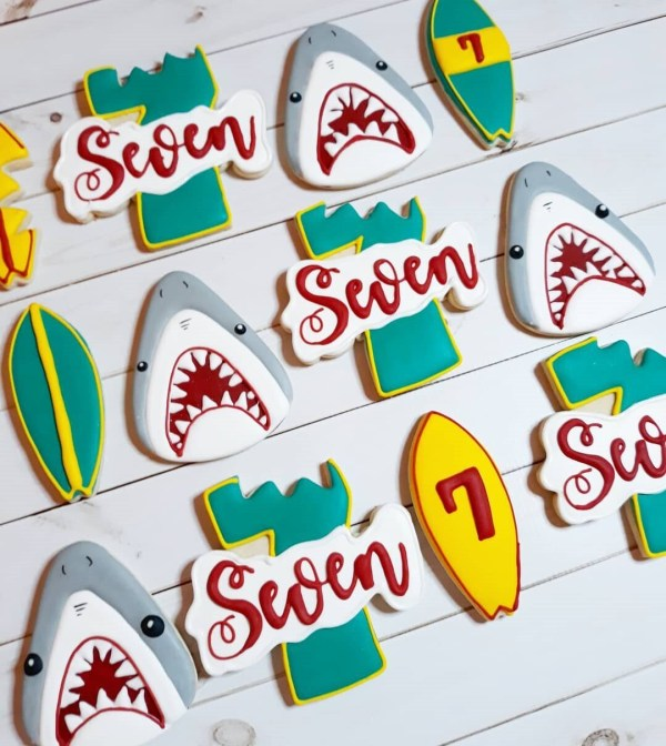 Shark themed Decorated Sugar Cookie 1 Dozen