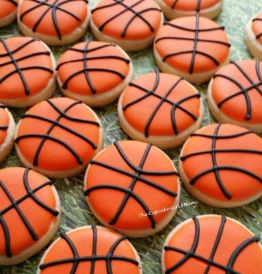 Mini Basketball Decorated Sugar Cookie 2 Dozen