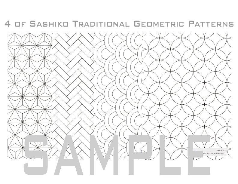 Sashiko Patterns / Letter Size Download Material in PDF.