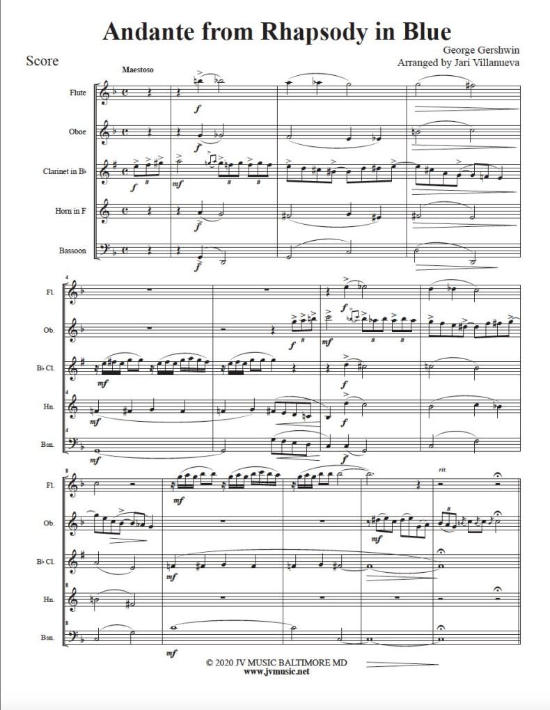 Andante from Rhapsody In Blue Woodwind Quintet
