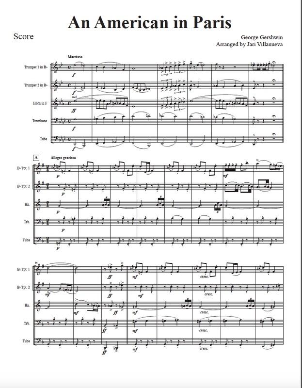 An American in Paris for Brass Quintet