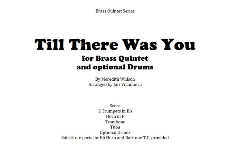Till There Was You for Brass Quintet