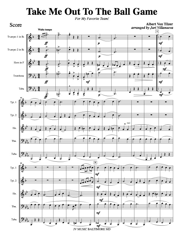 Take Me Out To The Ball Game for Brass Quintet (Eb version)