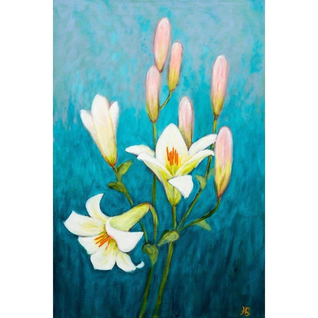 Lilies and Buds -- Hilda Bordianu