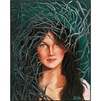 Girl Behind Branches -- Sobia Shuaib