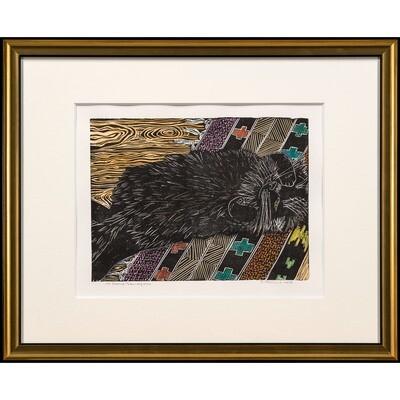 Cat Sleeping Throw-rug Style -- Sylvia Portillo