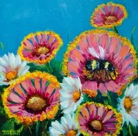 Summer Pink Gaillardias And The Busy Bee -- Rohini Mathur
