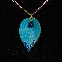 Teal Leaf Necklace -- Ellen Kenny