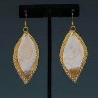 White and Gold Resin Earring -- Ellen Kenny