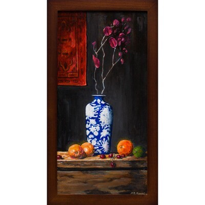 Blue & White Vase with Oranges -- Malcolm Moses