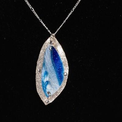 Silver Ocean Resin Necklace -- Ellen Kenny