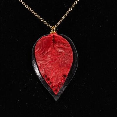 Red and Black Leaf Necklace -- Ellen Kenny