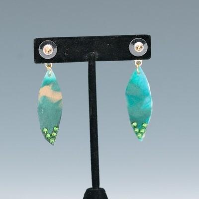 Ocean Green Resin Earring -- Ellen Kenny