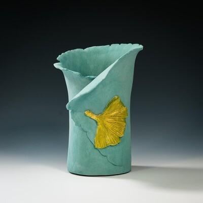 Vase with Gingko Leaf -- Hilda Bordianu