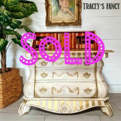 [SOLD] Gold Striped Bombay Desk