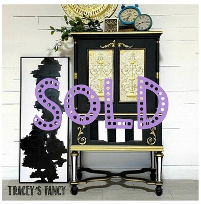 [SOLD] Whimsical Black & White Cabinet / Bar