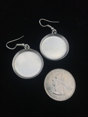 Silver Plated Circular Amate Bezel Earrings