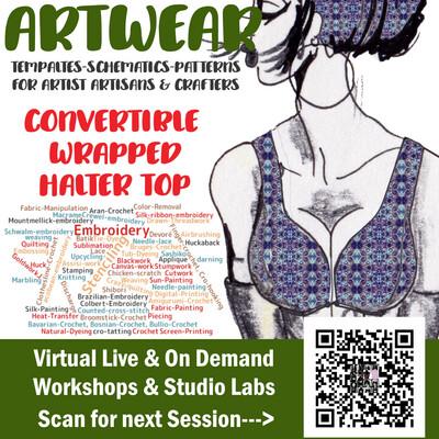 Artwear- Convertible Wrapped Halter top & Contoured Waist Apron