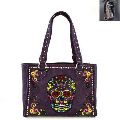 Montana West Sugar Skull Bag Concealed Carry - Purple