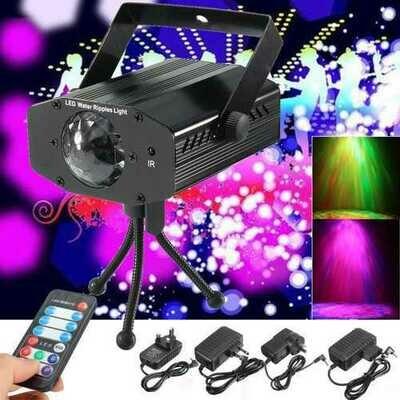 LED RGB Laser Stage Light Adjust Xmas DJ Party Projector Lamp + Remote Controller AC110-240V