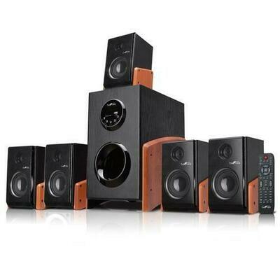 beFree Sound 5.1 Channel Bluetooth Surround Sound Speaker System in Wood