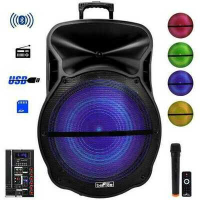beFree Sound 18 Inch Bluetooth Portable Rechargeable Party Speaker with Sound Reactive LED Party Lights, USB/SD, Microphone/Guitar Inputs and FM Radio