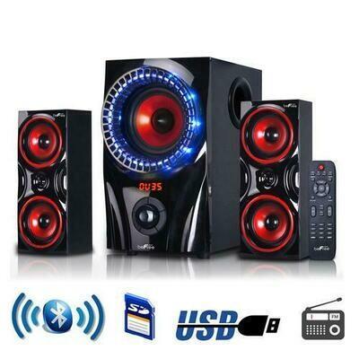 beFree Sound 2.1 Channel Bluetooth Surround Sound Speaker System in Red