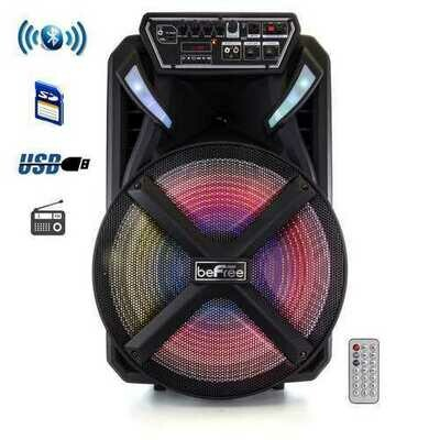 beFree Sound 15 Inch BT Portable Rechargeable Party Speaker