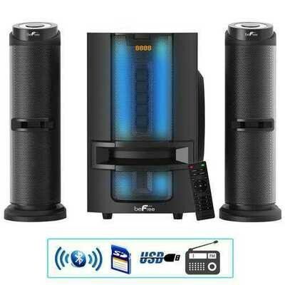 beFree Sound Bluetooth 2.1 Channel Multimedia Wired Speaker Shelf System with Sound Reactive LED lights and USB Input