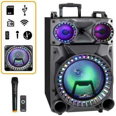 beFree Sound Rechargeable 12 Inch Bluetooth Portable Party Speaker with Party Lights, FM Radio and USB/TF Inputs