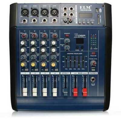 EL M PMX402D-USB 48V 4 Channel USB KTV Karaoke Audio Stage Mixer With Power Amplifier