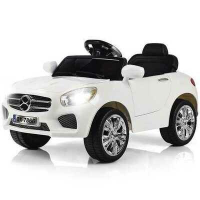 6V Kids Remote Control Battery Powered LED Lights Riding Car-White