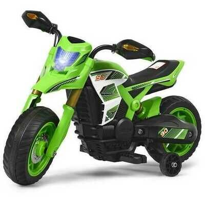 6V Electric Kids Ride-On Battery Motorcycle with Training Wheels -Green