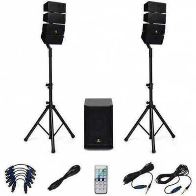 12 Inch 3000 Watt DJ Powered PA Speaker System Combo Set