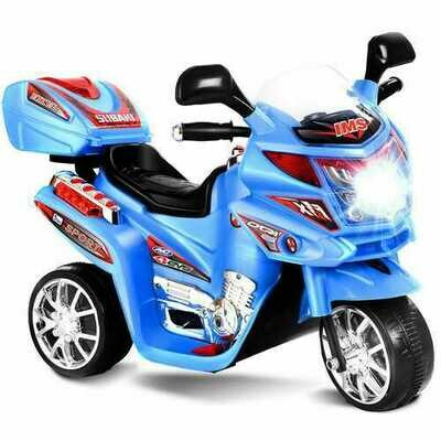 20-day Presell 3 Wheel Kids Ride On Motorcycle 6V Battery Powered Electric Toy Power Bicyle New-Blue