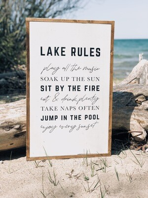 Lake Rules Sign | Cottage Cabin Sign | Porch Decor