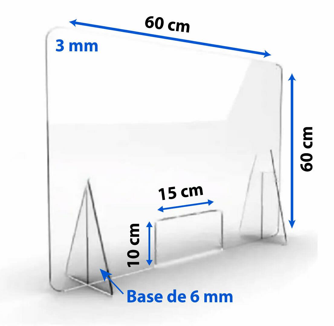 Mampara De Protección Acrílico Mostrador 60x60cm 3mm