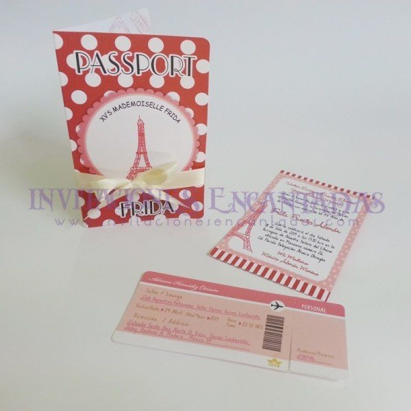Invitación Pasaporte Torre Eiffel