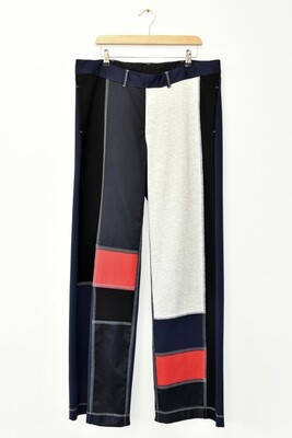 PANTS - NAVY MULTI COLOUR - PATCHWORK D. JERSEY
