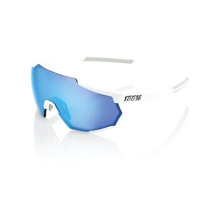 Occhiali da sole 100% RACETRAP - MATTE WHITE - LENTI HIPER MULTISTRATO A SPECCHIO BLU