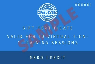 M. Train E-Gift Card 10 Virtual 1 on 1 sessions