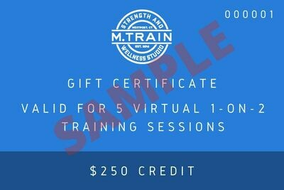 M. Train E-Gift Card 5 Virtual 1 on 2 sessions