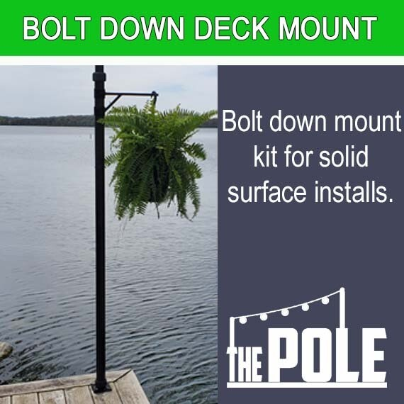 the pole string light pole deck patio bolt down mount package
