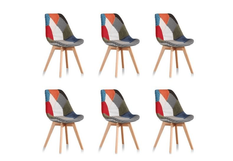 lot de 6 chaises scandinave robuste patchwork