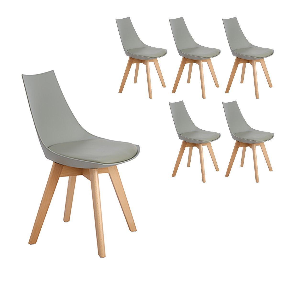 lot de 6 chaises scandinaves celina grises