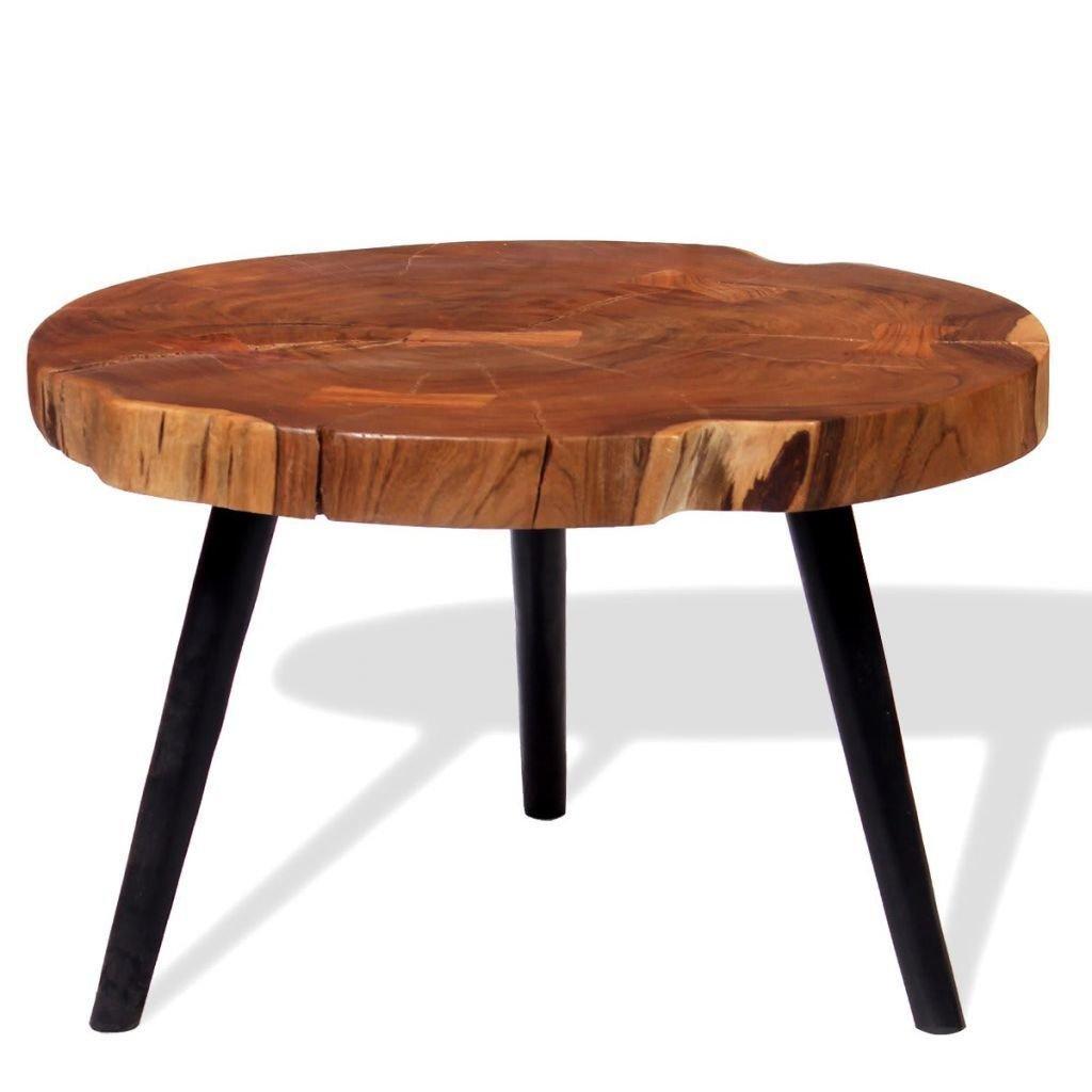 table basse au bois d acacia massif ronde