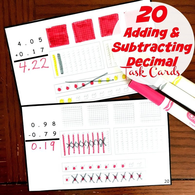 20 Adding and Subtracting Decimal Task Cards