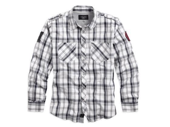 Chemise à Manches Longues pour Homme Harley-Davidson® Coton Gris & Carreaux 99068-13VM